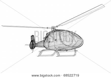 helicopter model, wire model body structure 3D poster