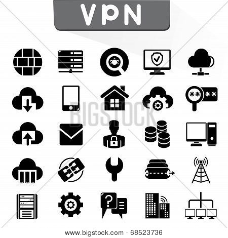 VPN, set of 25 virtual private network icons poster