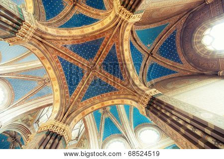 Domes in gothic cathedral interior