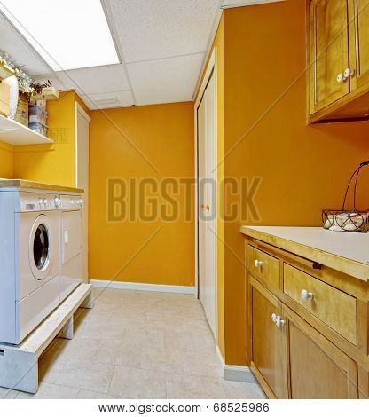 Bright Yellow Laundry Room Interior