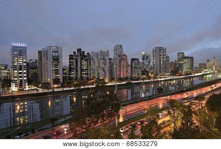 night view of the city of São Paulo Brazil