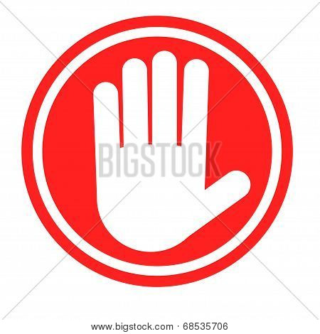 Stop sign with human hand. Warning sign, hazardous sign