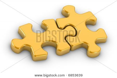 Golden Gijsaw Puzzle Pieces
