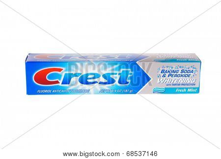HAYWARD, CA - July 17, 2014: 6.4 oz tube of Crest Fluoride anticavity toothpaste with baking soda and peroxide for tartar protection, still in packaging