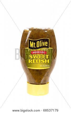 HAYWARD, CA - July 16, 2014:10 oz squeeze jar of Mt Olive Sweet Relish