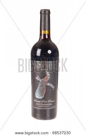 HAYWARD, CA - July 16, 2014: 2011 bottle of Ruby Hill Peacock patch Reserve Zinfandel
