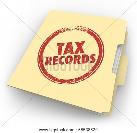 Tax Records words stamped onto a manila folder to keep your documents in a file