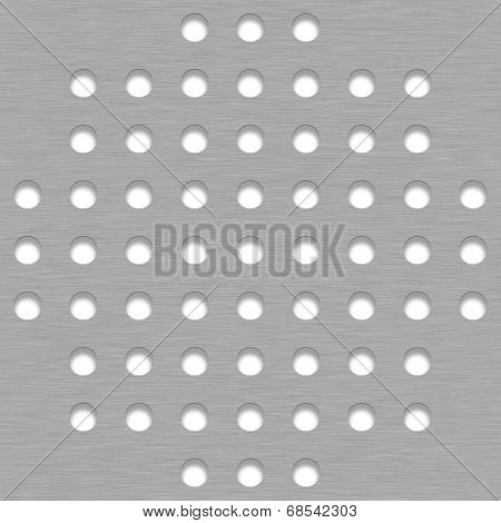 Brushed Metal Tile Background With White Grill Holes