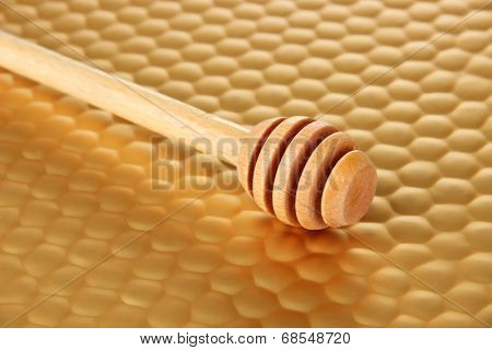 Honey comb on bright yellow background
