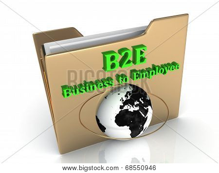 B2E Business to Employee bright green letters on a golden folder on a white background poster