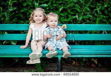 Funny Little Children Brother And Sister