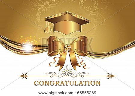 Elegant golden Graduation card for print