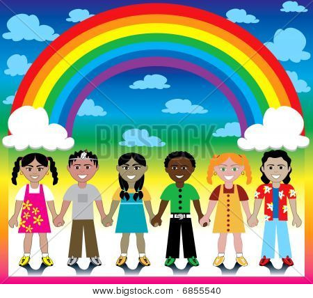 Rainbow Background With Kids
