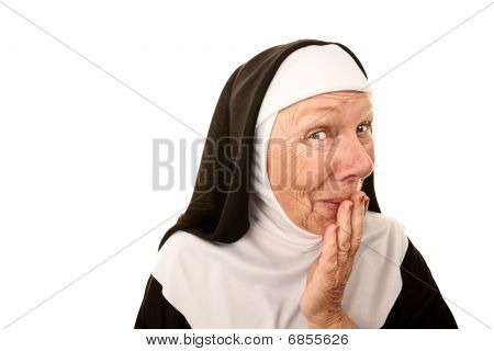 Funny Nun with Happy Shocked on her Face Stifling a Laugh poster
