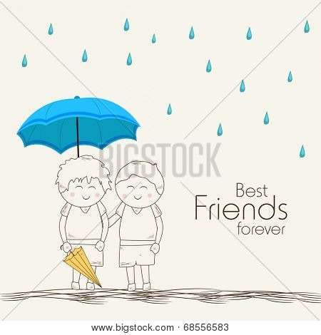 Illustration of cute little kids under blue umbrella on beige background with stylish text Best Friends Forever.