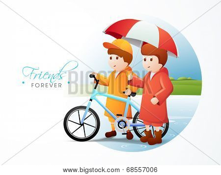 Cute little boys with blue bicycle with umbrella on nature background for Happy Friendship Day celebrations.  poster