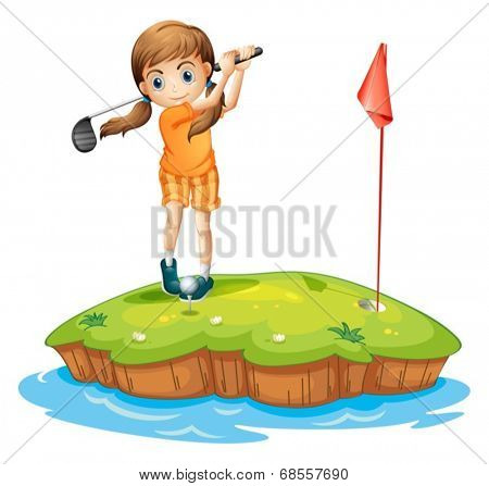 Illustration of a young woman playing golf on a white background
