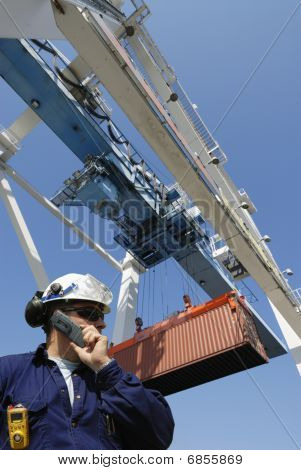 engineer and container crane