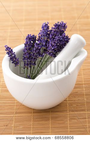 Lavender Flowers In A Mortar
