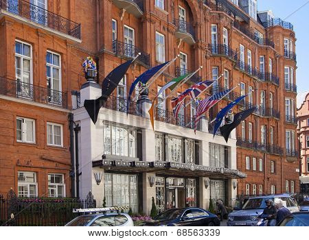 LONDON, UK - JUNE 3, 2014: Mayfair, Claridges hotel one of the top London's hotels. British flags on