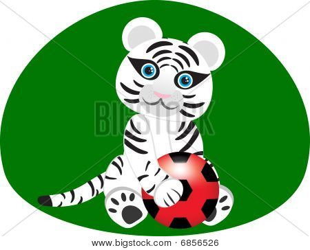 Vector image of a white tiger with a soccer ball. poster