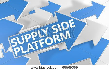 Supply Side Platform 3d render concept with blue and white arrows flying over a white background. poster