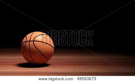 Basketball court floor with ball isolated on black and copy-space