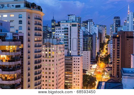 tall buildings at evening in Sao Paulo