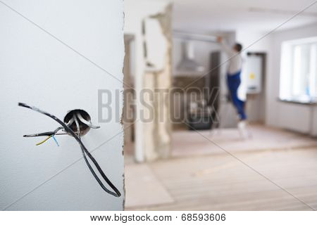 Electrical installations in an appartment being rebuilt
