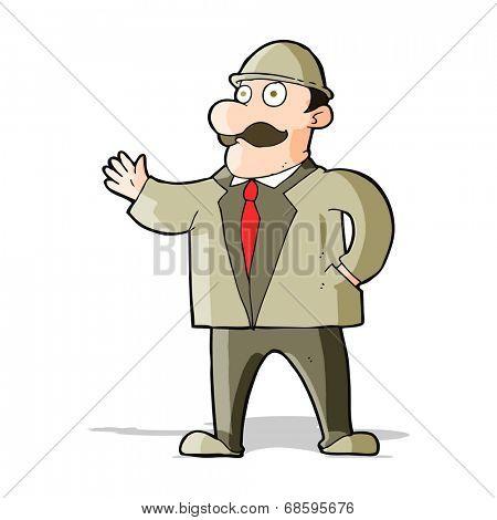 cartoon sensible businessman in bowler hat