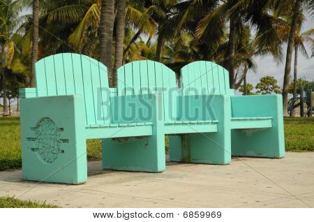 Colorful South Beach Bench