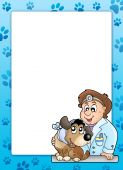 Blue frame with veterinary theme - color illustration. poster