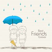 Illustration of cute little kids under blue umbrella on beige background with stylish text Best Friends Forever.  poster