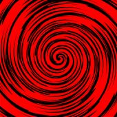 Black and red spiral in square tile, vector poster