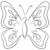 Symbolical butterfly with opened wings, monochrome contours. Vector poster