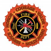 "Fire department or firefighter Maltese cross symbol design with flame border encircled by ""Honor, Courage, Valor, Dedication and Service"". Includes firefighter tools symbol. poster"