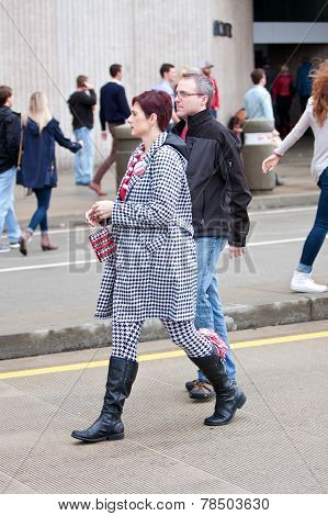 Woman Dressed In All Houndstooth Prepares To Watch Alabama Game