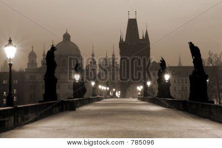 Charles Bridge, (sepia) Prague