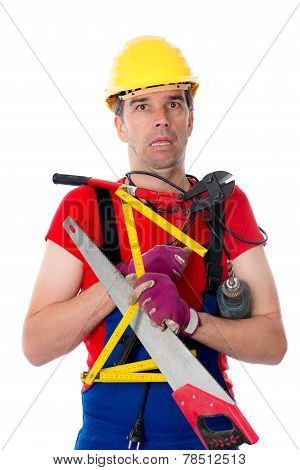 worker with different tools is over-worked Man Over-worked poster