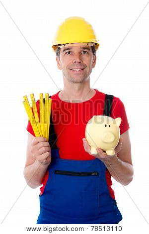 Friendly Worker in red shirt With Yardstick And Piggy Bank