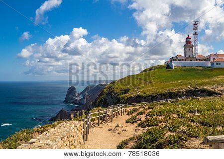 The Cabo Da Roca Lighthouse, Overlooking The Promontory Towards The Atlantic Ocean