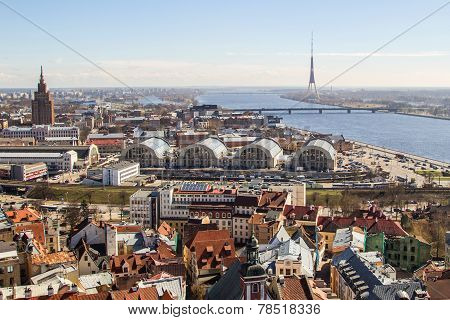 The Panorama View Of Railway Station And City Market Of Riga, Latvia