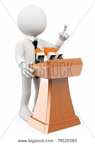 3d white people. Man giving a conference. Isolated white background. poster