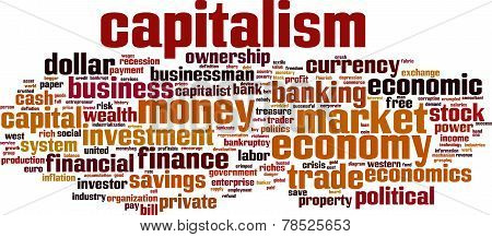 Capitalism word cloud concept. Vector illustration on white poster