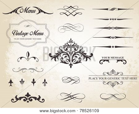 Vintage Vector Label Page Dividers And Borders