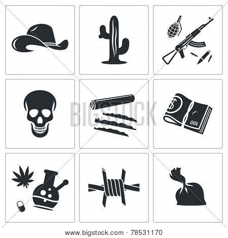 Mexican Cartel Vector Icons Set