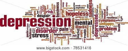 Depression Word Cloud Concept. Vector Illustration Isolated on White poster