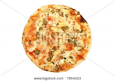 Fresh baked round pizza with olives isolated on white background
