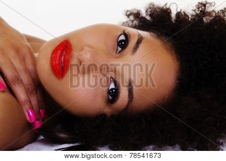Reclining Portrait Of Beautiful African American Woman