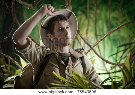 Exhausted Explorer In The Jungle